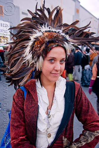 gina - burning man decompression 2009 (san francisco), burning man decompression, feather hat, feather headdress, feathers, pyronautes, woman