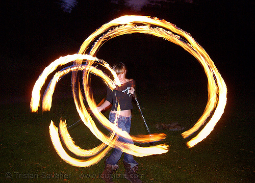 gina spinning double fire poi, circle, double poi, fire dancer, fire dancing, fire performer, fire poi, fire spinning, flame, long exposure, night, ring, spinning fire