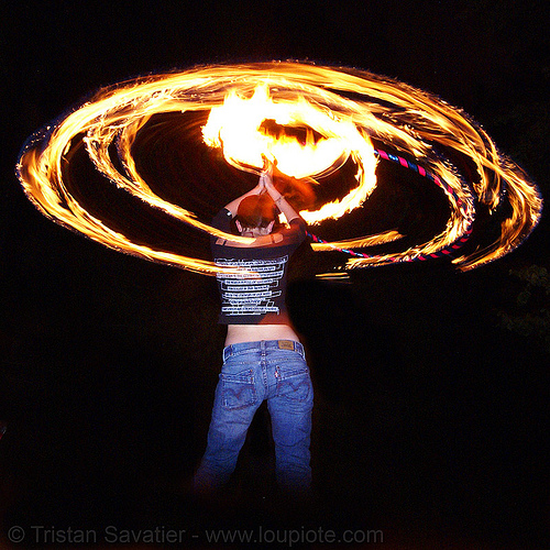gina spinning a fire hula hoop (san francisco), fire dancer, fire dancing, fire hula hoop, fire performer, fire spinning, hula hooping, night, spinning fire