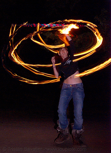 gina spinning a fire hula hoop (san francisco), fire dancer, fire dancing, fire performer, fire spinning, flame, hula hooping, long exposure, night, people, spinning fire