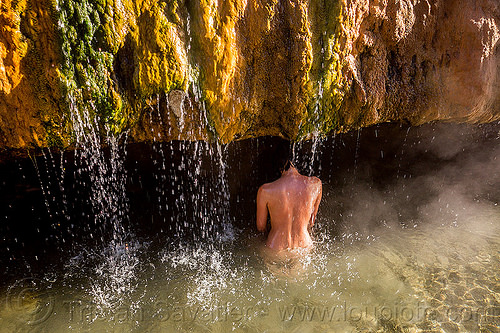 girl bathing - buckeye hot springs (california), bath, bathing, buckeye hot springs, california, concretions, dripping, eastern sierra, nude, pool, rocks, shower, showering, smoke, smoking, steam, travertine, water droplets, woman
