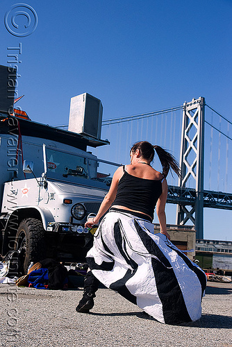 girl dancing at renegade party (san francisco), bay bridge, de falco, ripe, space cowboys, unimog, woman