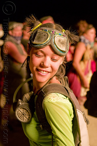 girl dancing on the night of the burn - erin at burning man, 3m respirator, burning man, dryad siren, dust mask, goggles, respirator cartridges, woman