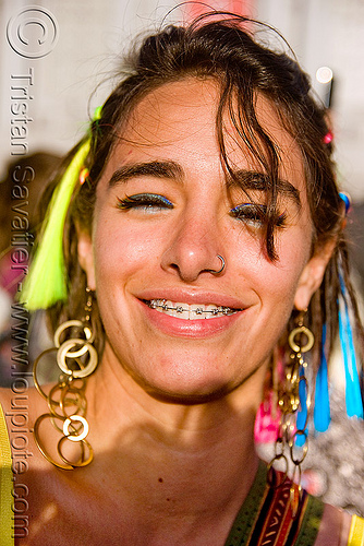 girl smiling with dental braces, daniela, daniela reul, earrings, festival, love fest, lovevolution, orthodontic braces, people, teeth, woman