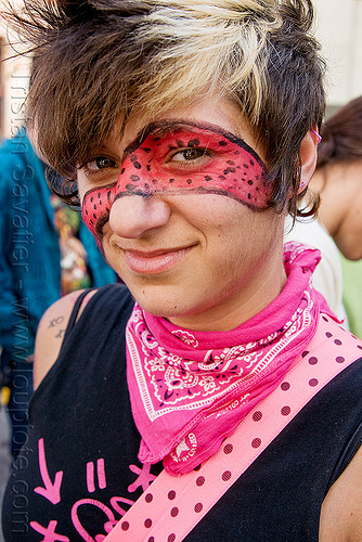 girl with face paint and pink bandana, facepaint, how weird festival, pink bandana, woman