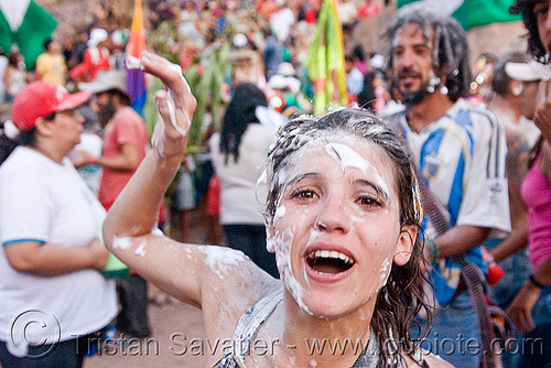 girl with foam on face - carnaval de tilcara (argentina), andean carnival, carnaval, noroeste argentino, party foam, quebrada de humahuaca, talk powder, tilcara, woman