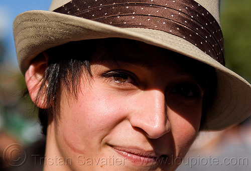 girl with gangster hat - scarface, fedora hat, haight street fair, people, scar, shadow, woman