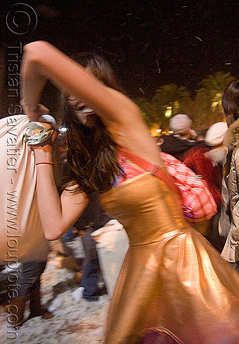 girl with golden dress - the great san francisco pillow fight 2009, down feathers, night, pillows, woman, world pillow fight day