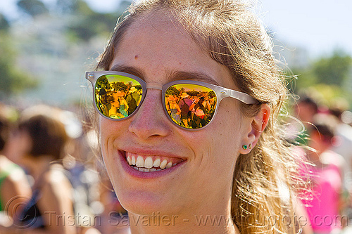 girl with mirror sunglasses, gay pride festival, mirror sunglasses, woman