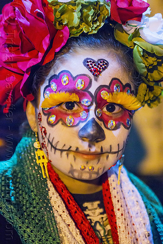 girl with sugar skull makeup, child, day of the dead, dia de los muertos, eyelashes extensions, face painting, facepaint, feather eyelashes, halloween, kid, little girl, night, sugar skull makeup