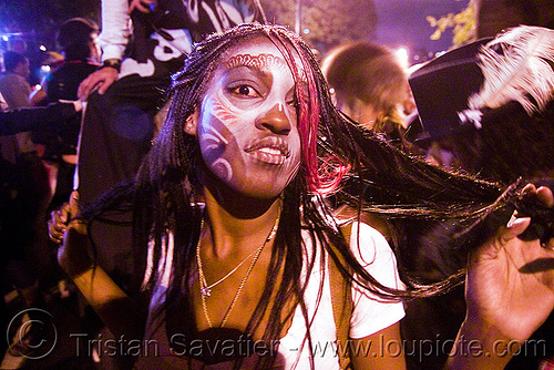 girl with white airbrush stencil skull makeup - dia de los muertos - halloween (san francisco) - makay, airbrush stencil, day of the dead, dia de los muertos, face painting, facepaint, halloween, makay, makeup, night, woman