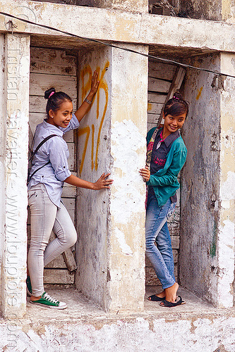 girls posing in ruined building, eid, eid ul-fitr, fatahillah square, jakarta, java, people, taman fatahillah, women