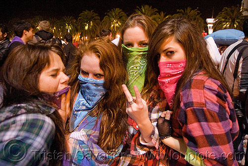 girls with bandana masks, bandana, down feathers, girls, night, pillow fight club, pillows, women, world pillow fight day
