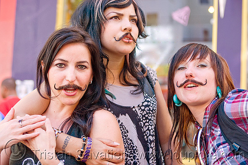 girls with false moustaches, fake moustaches, fake mustaches, false moustaches, false mustaches, haight street fair, sarah, three, women