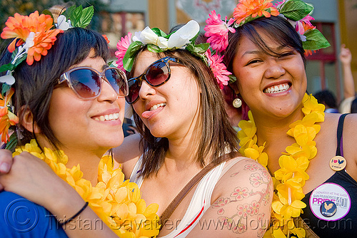girls with flower headdresses, flowers, gay pride festival, headdress, headdresses, women
