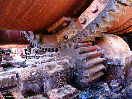 girth gear - rotary kiln, abandoned, cinnabar smelter, decay, gears, industrial, mercury pollution, new idria, rotary furnace, rotary kiln, rusted, rusty, split ring gear, trespassing, urban exploration