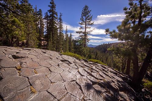 glacial striations on basalt columns - devils postpile (california), california, columnar basalt, columns, devils postpile, eastern sierra, erosion, forest, geology, glacial polish, glacial striations, lava flow, rock formation, trees, volcanic