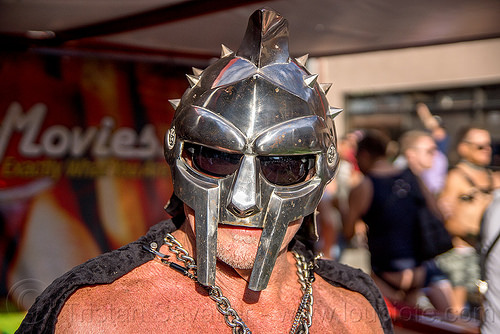 gladiator mask - metal helmet, costume, folsom street fair, gladiator helmet, gladiator mask, man, metal