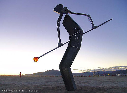 glass blower - sculpture by ron seivertson - burning-man 2004, art installation