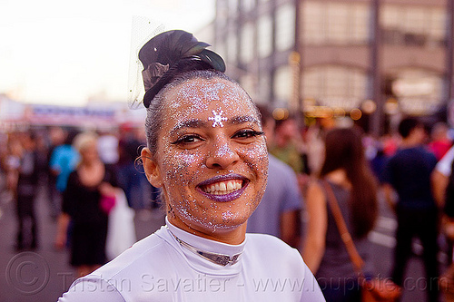 glittery makeup - folsom street fair (san francisco), crystal, folsom street fair, glittery makeup, purple lipstick, woman