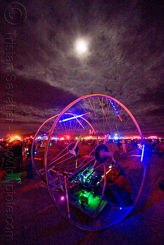 glowing art car under the full moon - burning man 2009, burning man, full moon, glowing, night, unidentified art car