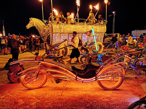 glowing cruiser bicycle - burning man 2019, art car, bicycle, bike, burning man, cruiser, mutant vehicles, night