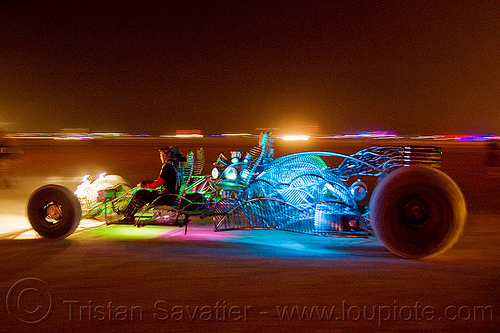 glowing dragster art car - burning man 2012, art car, dragster, glowing, henry chang, mr fusion, night