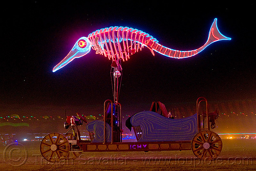 glowing fish - art car, burning man, fish, neon, night, unidentified art car, woman