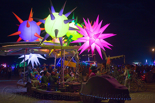 glowing spiky inflatables - art car - burning man 2012, burning man, glowing, inflatables, night, spiky, unidentified art car