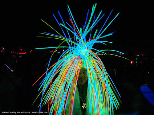glowsticks costume - burning-man 2004, art, burning man, costume, glowsticks, night