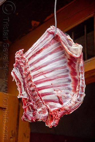goat meat - ribs, chevon, goat meat, india, meat market, meat shop, mutton, raw meat, rib cage, ribs, लेह