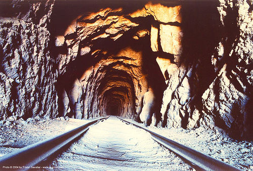 gold mine - tunnel - rails, burro schmidt tunnel, burro schmidt's tunnel, garlock, gold mine, rail tracks, railroad tracks, rails, railway tracks, train tracks