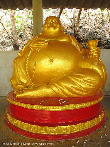 golden budai (fat buddha) - tham wat (thailand), ban mueang na, budai, chinese buddha, fat buddha, golden color, hotei, laughing buddha, sculpture, statue, thailand, สังกัจจายน์, 布袋, 笑佛