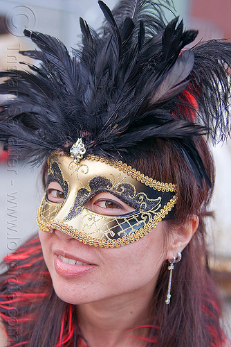 golden carnival mask, carnival mask, feather headdress, woman