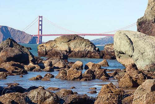 golden gate bridge, coast, golden gate bridge, lands end, ocean, rocks, sea, suspension bridge