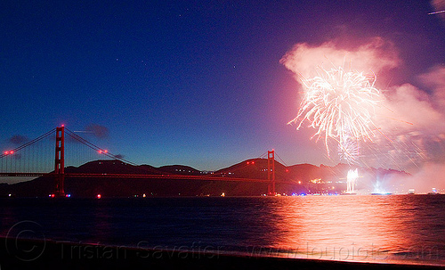 golden gate bridge 75th anniversary fireworks, 75th anniversary, fireworks, golden gate bridge, night, smoke, stars, suspension bridge