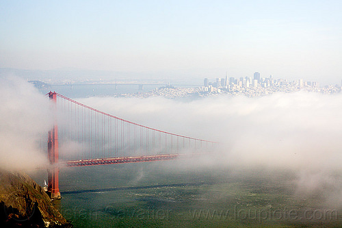 golden gate bridge and san francisco city in the fog, buildings, city, fog, golden gate bridge, san francisco bay, seashore, suspension bridge