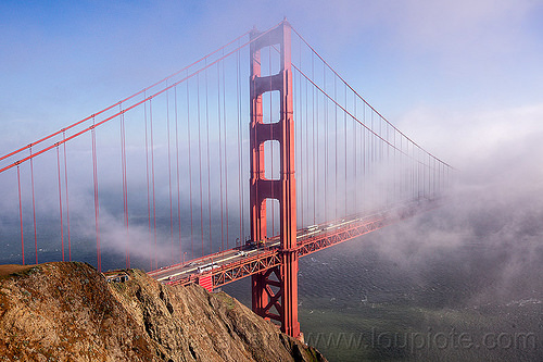 golden gate bridge in the fog (san francisco), bridge tower, cliff, fog, golden gate bridge, ocean, sea, seashore, shore, suspension bridge, water