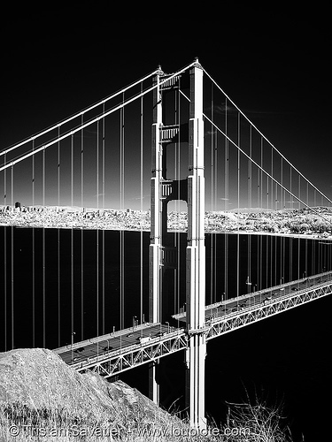 golden gate bridge north tower - daylight infrared photo(san francisco), black water, bridge pillar, bridge tower, golden gate bridge, near infrared, suspension bridge