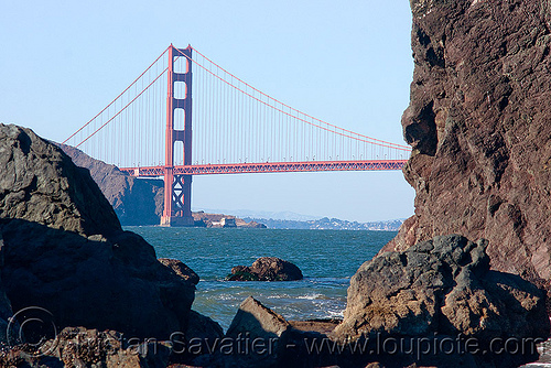 golden gate bridge north tower (san francisco), bridge pillar, bridge tower, coast, golden gate bridge, rocks, suspension bridge