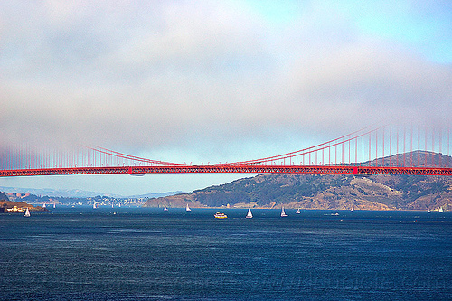 golden gate bridge span in the fog, angel island, boats, bridge span, coast, fog bank, golden gate bridge, hill, sailboats, san francisco bay, suspension bridge