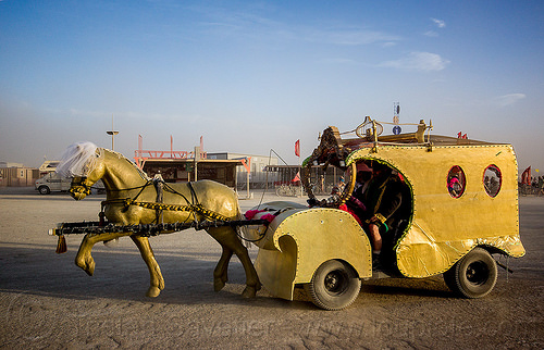 golden horse cart - burning man 2015, burning man, golden horse, horse cart, mutant vehicles, unidentified art car