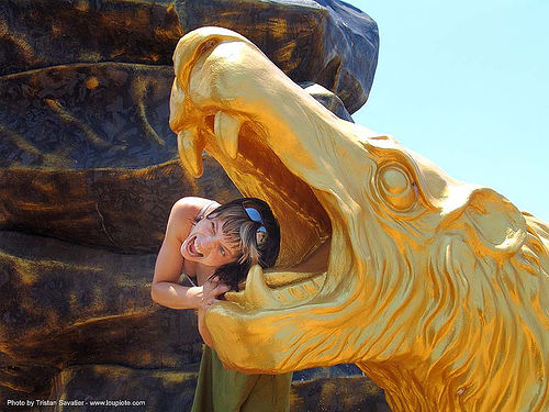 golden lion head, golden color, head, hindu, hinduism, sculpture, statue, thailand, woman