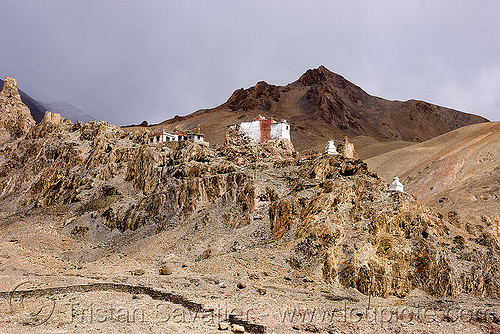 gompa (monastery) near upshi - manali to leh road (india), gompa, india, ladakh, leh valley, mountains, tibetan monastery, upshi