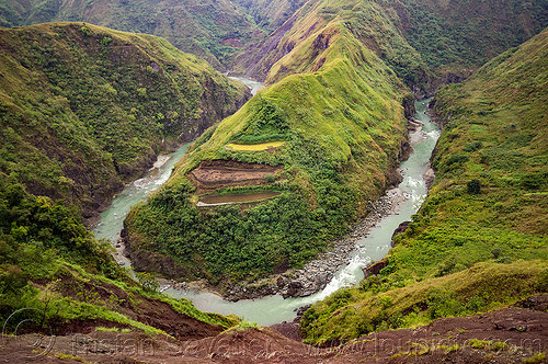 gooseneck - chico river bend in the cordillera (philippines), chico river, chico valley, cordillera, gooseneck, loop, mountain, philippines, river bend, v-shaped valley