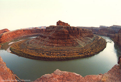 gooseneck of the colorado river near moab (utah), bend, colorado river, desert, fisheye, gooseneck, moab, placemark, utah, water