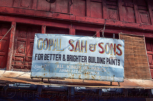gopal sah & sons - for better & brighter building paints - store sign (india), almora bazar, fading, india, johari bazar, paint, store sign