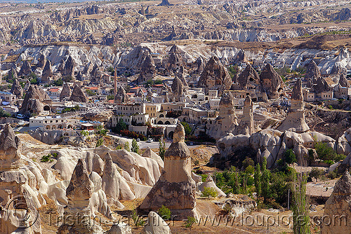 Göreme - fairy chimneys - cappadocia, cappadocia, cave dwellings, caves, erosion, fairy chimneys, geology, goreme, göreme, hoodoos, rock cut, rock formations, rock houses, rocks, troglodyte, village, volcanic tuff