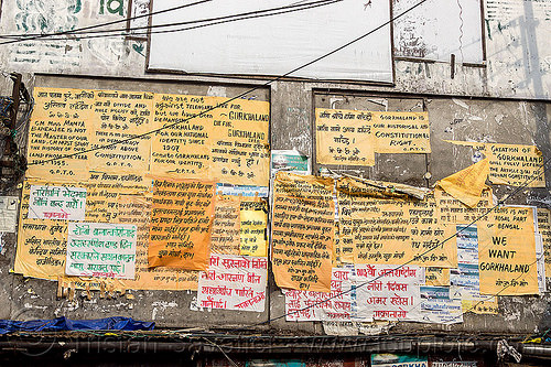 gorkhaland political propaganda posters on wall - darjeeling (india)