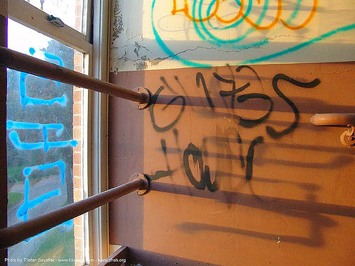 graffiti - abandoned hospital (presidio, san francisco) - phsh, abandoned building, decay, presidio hospital, presidio landmark apartments, trespassing, urban exploration, stock photo